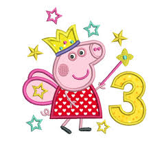 peppa pig birthday 3rd birthday machine embroidery applique design peppa pig