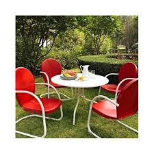 Retro Patio Furniture Sets Retro Table Chairs Dinette Sets Outdoor Patio Furniture Metal Red