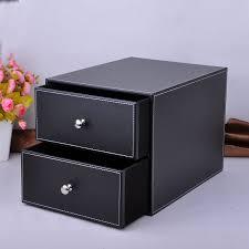 Desk Organizer Box Layer Drawer Wood Leather Desk Set Filing Cabinet