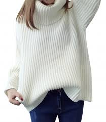 white sweater s fashion chunky turtleneck sleeve knitted pullover
