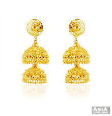 beautiful gold earrings images beautiful gold layered jhumki ajer59122 22k gold jhumka