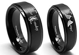 his and rings set cowboy and his angel ring set black band