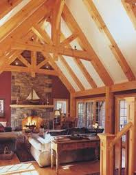 beautiful timber frame trusses interior of home photo built by