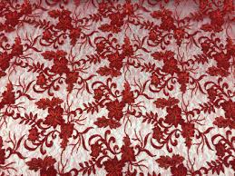 red jasmine floral sequin embroidered mesh lace fabric fashion