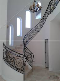 Custom Staircase Design Interior Decor Black Patterned Wrought Iron Railing For Luxury