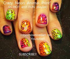 robin moses nail art crazy neon animal print nail neon animal