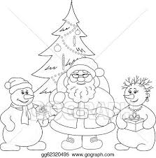 vector clipart santa claus christmas tree and snowmans outline