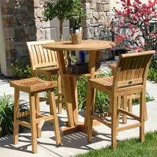 furniture awesome slatted teak bar table design with stool chairs