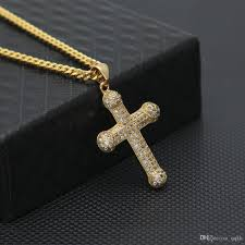 colored cross necklace images Wholesale fashion mens hip hop cuban link chain aaa cubic zirconia jpg