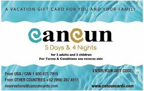 vacation gift cards cancun travel card