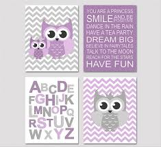 Purple And Grey Nursery Art Print Set X Kids Room Wall Decor - Kids room wall decoration