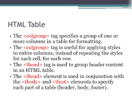 Html Table Header Row Html Web Programming Ppt Download