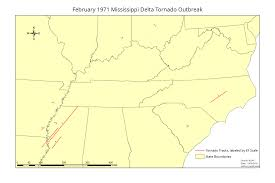 Tornado Map February 1971 Mississippi Delta Tornado Outbreak Wikipedia