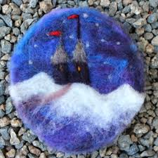 needle felted paintings as tree ornaments for