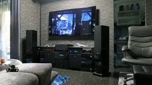 Movie Theater Home Decor by Hidden Tensioned Electric Projection Screen In Living Room Home