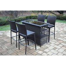 outdoor bar table and chair elite 5 piece wicker outdoor bar