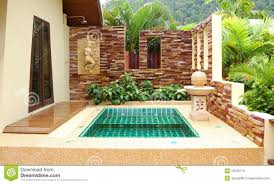 outdoor jacuzzi at the luxury villa koh chang th royalty free