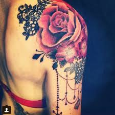 black lace and red rose shoulder tattoo tattoomagz