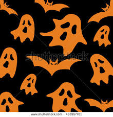 halloween seamless pattern ghosts pumpkins skulls stock vector