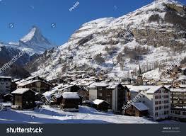 panorama zermatt alpine village matterhorn mountain stock photo