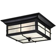 orwell 2 light textured black outdoor flushmount