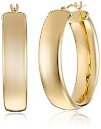 gold hoop earings 14k yellow gold polished wedding band hoop earrings