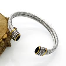 stainless steel crystal bangle bracelet images Hot sale women open double half circle bangles bracelets twisted jpg