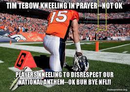 Tebowing Meme - tim tebow kneeling in prayer not ok players kneeling to