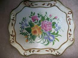 painted serving platters antique american folk tin tole toleware painted serving