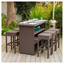 milton 7pc wicker patio bar set brown christopher knight home