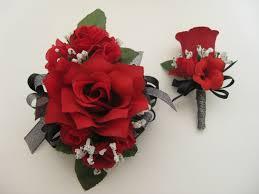 Prom Wrist Corsage Wedding Prom Metallic Black Red Rose Flower Wrist Corsage Or