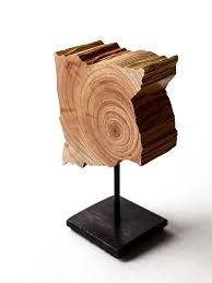 small wooden sculptures split grain modern minimal wood sculptures