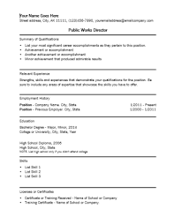 Government Resume Templates Public Works Director Resume Resume Ideas