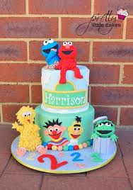 sesame birthday 3 tier sesame birthday cake buttercream cake with fondant