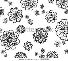 hand drawn flowers coloring pages adults stock vector 480866614