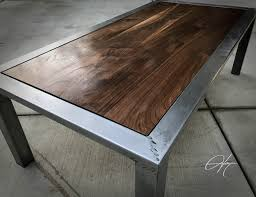 distressed metal coffee table walnut and distressed steel coffee table wood metal home decor