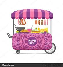 indian cart indian street food cart colorful vector image u2014 stock vector