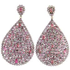 pink earrings impressive large pink sapphire diamond dangling earrings