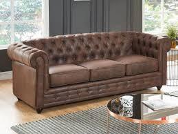 canap cuir et microfibre canapé 3 places chesterfield en microfibre aspect cuir vieilli