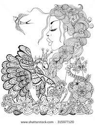 coloring page fairy stock illustration 564049324 shutterstock