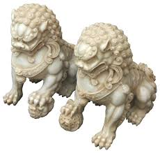 pictures of foo dogs pair carving white marble fenshui foo dogs