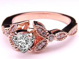 pink gold engagement rings engagement ring floral vintage heart shape diamond engagement