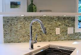 Modern Kitchen Designed With Recycled Glass Backsplash And Single - Recycled backsplash