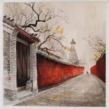 watercolor painting hutong and the gate home décor paintings