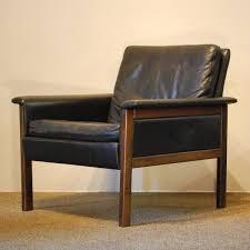 10309 Mid Century Modern Full Grain Black Leather Armchair Circa