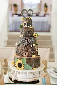 my daughter u0027s wedding cake tree trunk tree bark sunflowers