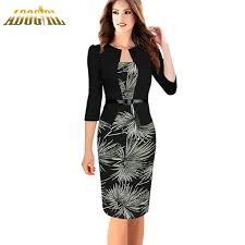women elegant formal office dress fashion one piece faux jacket