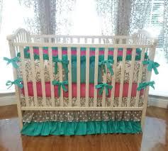 Pink And Brown Damask Crib Bedding Baby Bedding Grey Damask Teal Pink 1pc 4pc