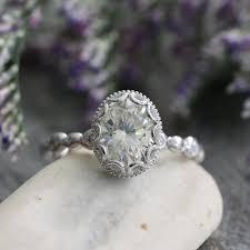 moissanite vintage engagement rings vintage inspired floral moissanite engagement ring by lamoredesign