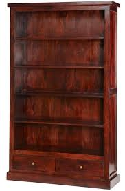 Dark Bookcase Maharani Dark Wood Large Bookcase With Drawers Bookcases And Shelves